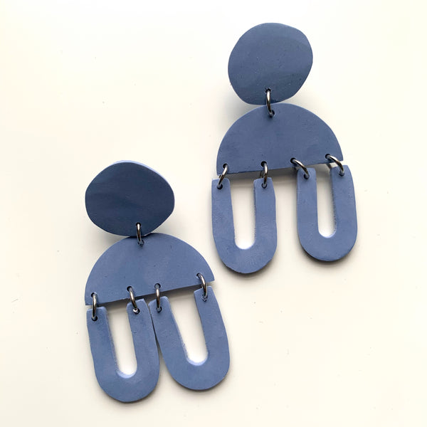 Chunky Navy Clay Earrings-Muted Blue - New Origin Shop