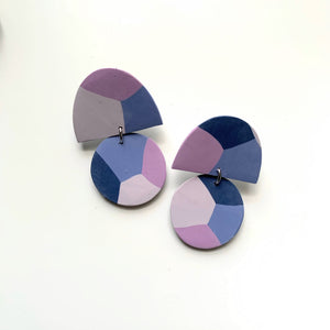 Half Circle Kaleidoscope Print Clay Earrings - New Origin Shop