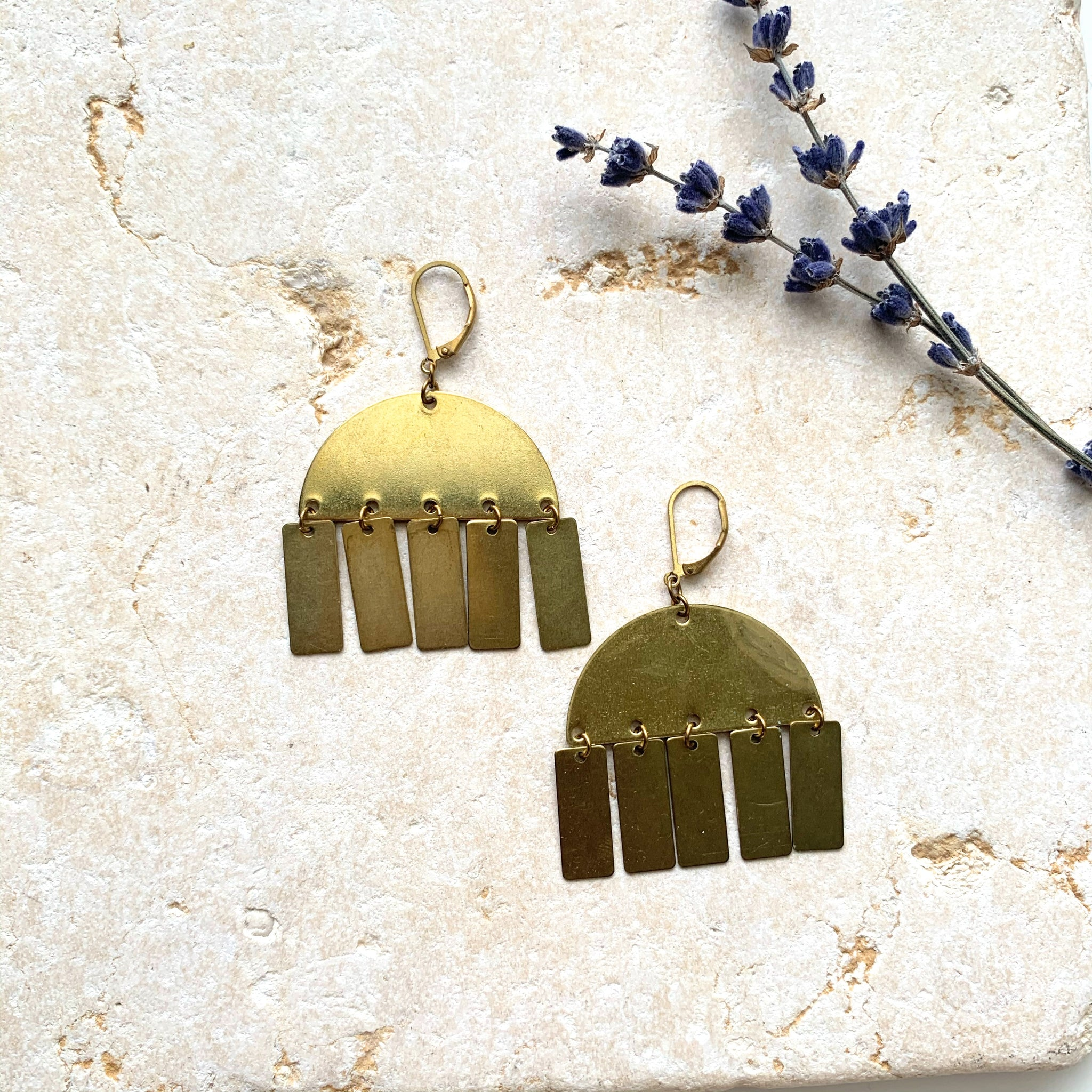 Bold Chunky Brass Half Moon + Charms Pendant Earring - New Origin Shop