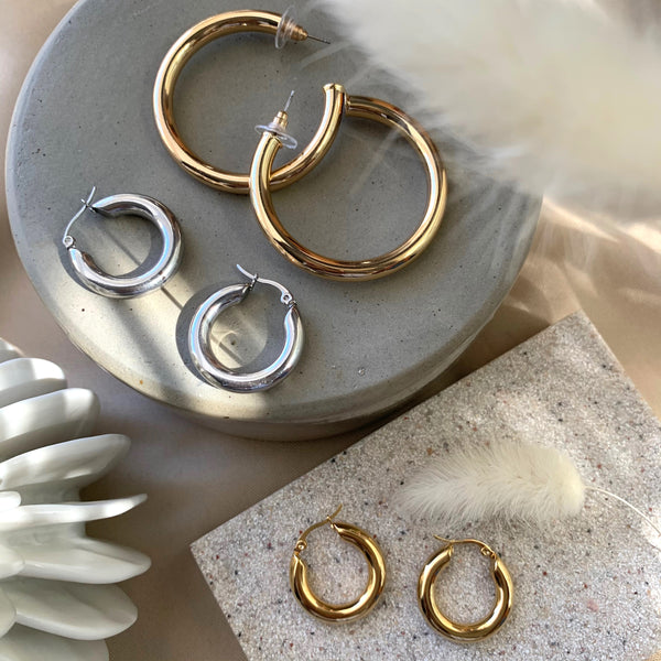 Gold - Medium Thick Hoops Earrings