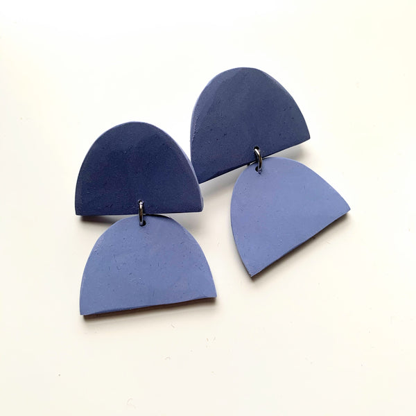 Double Half Moon Clay Earrings Muted Blue - New Origin Shop