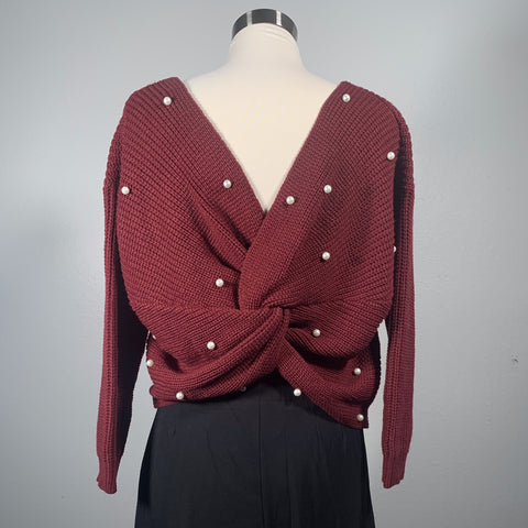 Open Back Criss Cross Sweater - New Origin Shop LLC