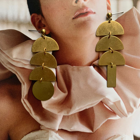 Mix + Match Shape Brass Pendant Earring