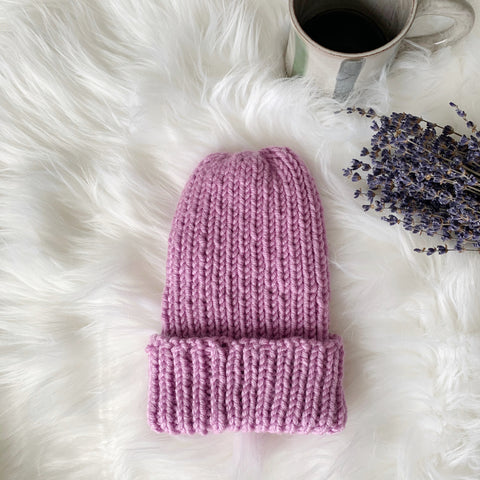 prism mauve handknit chunky winter hat dried lavender and ceramic mug