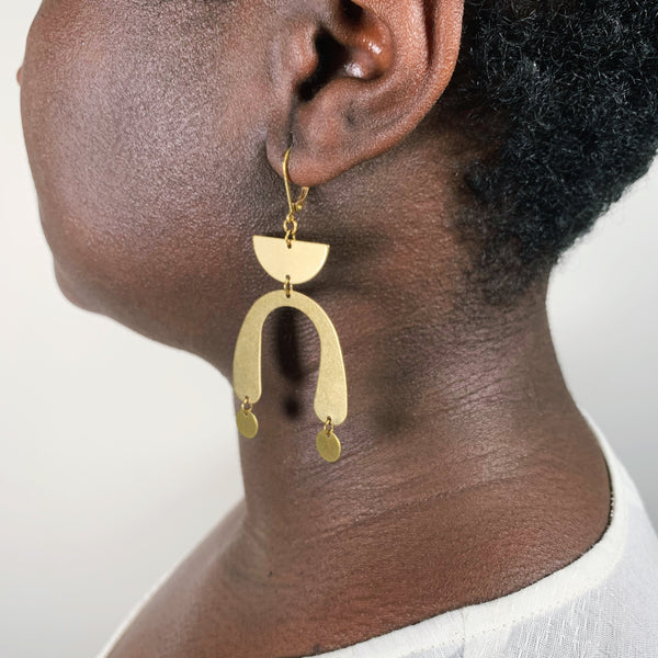 Brass Half Moon + Circle Pendant  Earring - New Origin Shop