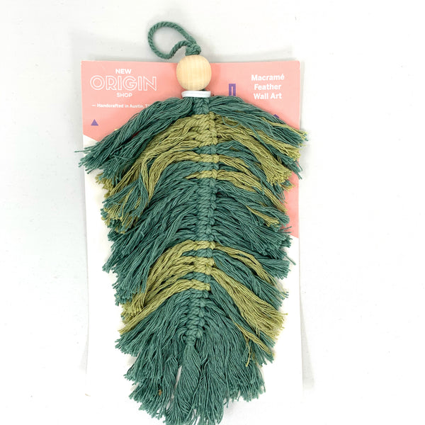 Multi Green Feather 002 with Wood Bead - New Origin Shop