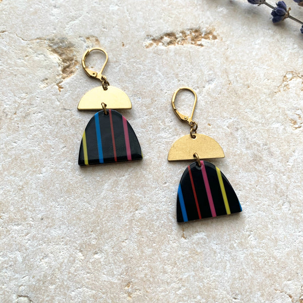 Colorful Half Circle + Brass Pendant Earring-Black - New Origin Shop