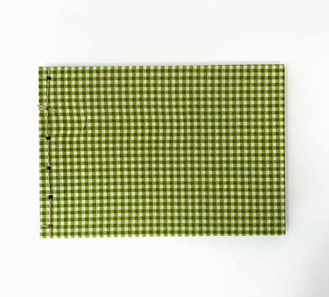 avocado gingham fabric journal