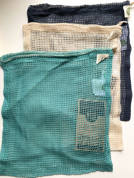 ECOBAGS Washed Blue Net Drawstring Bag - New Origin Shop