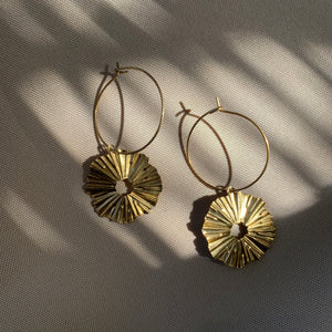 Ridged Star Hoop Earring