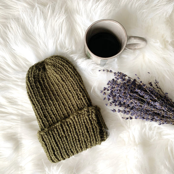 Fall Neutral Palette -Adult Ribbed Beanie Hat