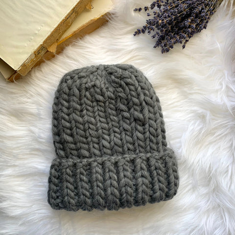 100% Peruvian Wool Chunky Ribbed Beanie Hat