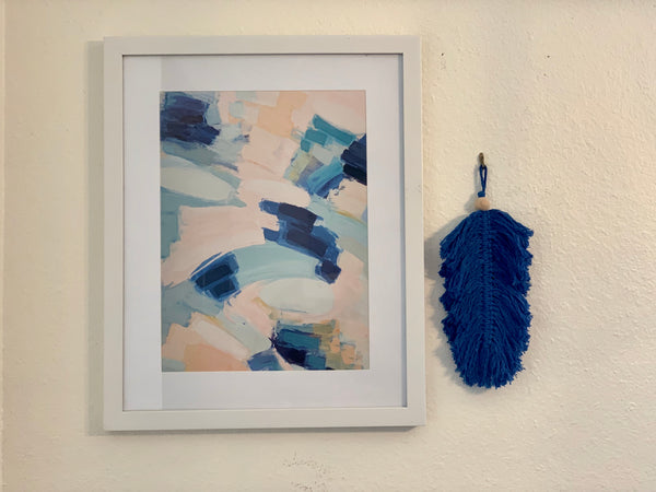 Blue Macrame Feather with Wood Bead - New Origin Shop