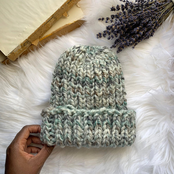 chunky hand knit wool blend hat