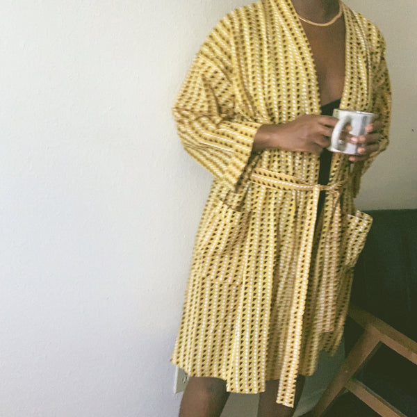 Trinidad Mustard Block Printed Cotton Robe