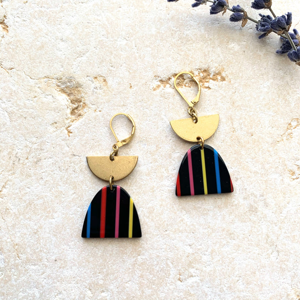 002 Colorful Half Circle + Brass Pendant Earring-Black - New Origin Shop