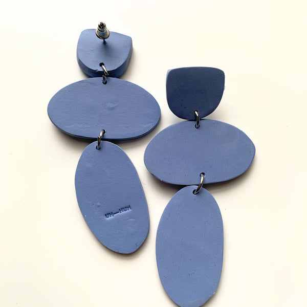 Stone Age Clay Pendant Earring Muted Blue - New Origin Shop