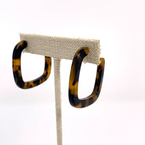 Midi Square Hoops in Classic Tortoise - New Origin Shop