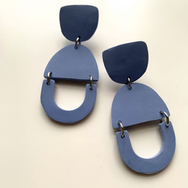 Muted Blue Drop Clay Earrings - New Origin Shop