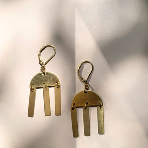 Brass Half Moon + Charms Pendant  Earring - New Origin Shop