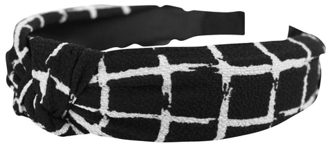 Black and white grid knot headband
