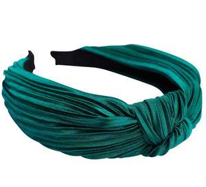Satin knot pleated headband