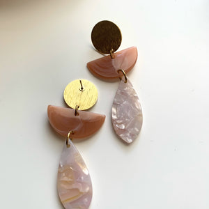 Blush and Cream Acrylic + Brass Pendant Earrings