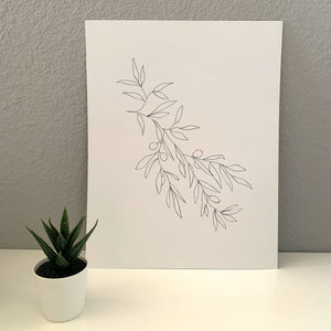 Line Drawing Olive Branch Wall Art Print - New Origin Shop