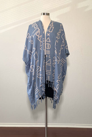 Grey-Blue Shapes Kimono - New Origin Shop LLC