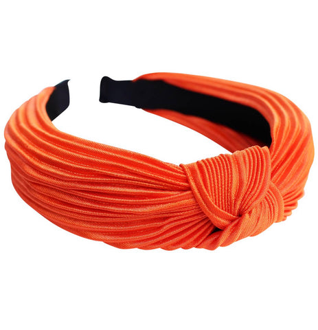 Orange satin knot pleated headband