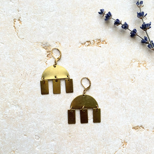 Chunky Brass Half Moon + Charms Pendant  Earring - New Origin Shop