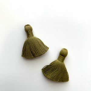 Brass Half Circle + Fiber Tassle Charm Earring - New Origin Shop