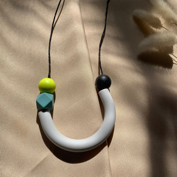 Light Grey Modern Silicone Bead Teething | Nursing Necklace