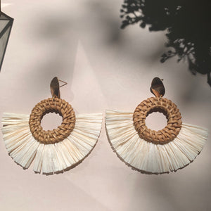 Walnut  Brass + Rattan Earring - New Origin Shop