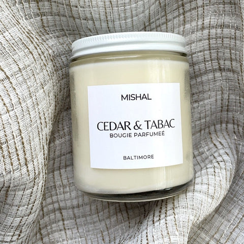 cedar & tabac candle handmade in Baltimore Md