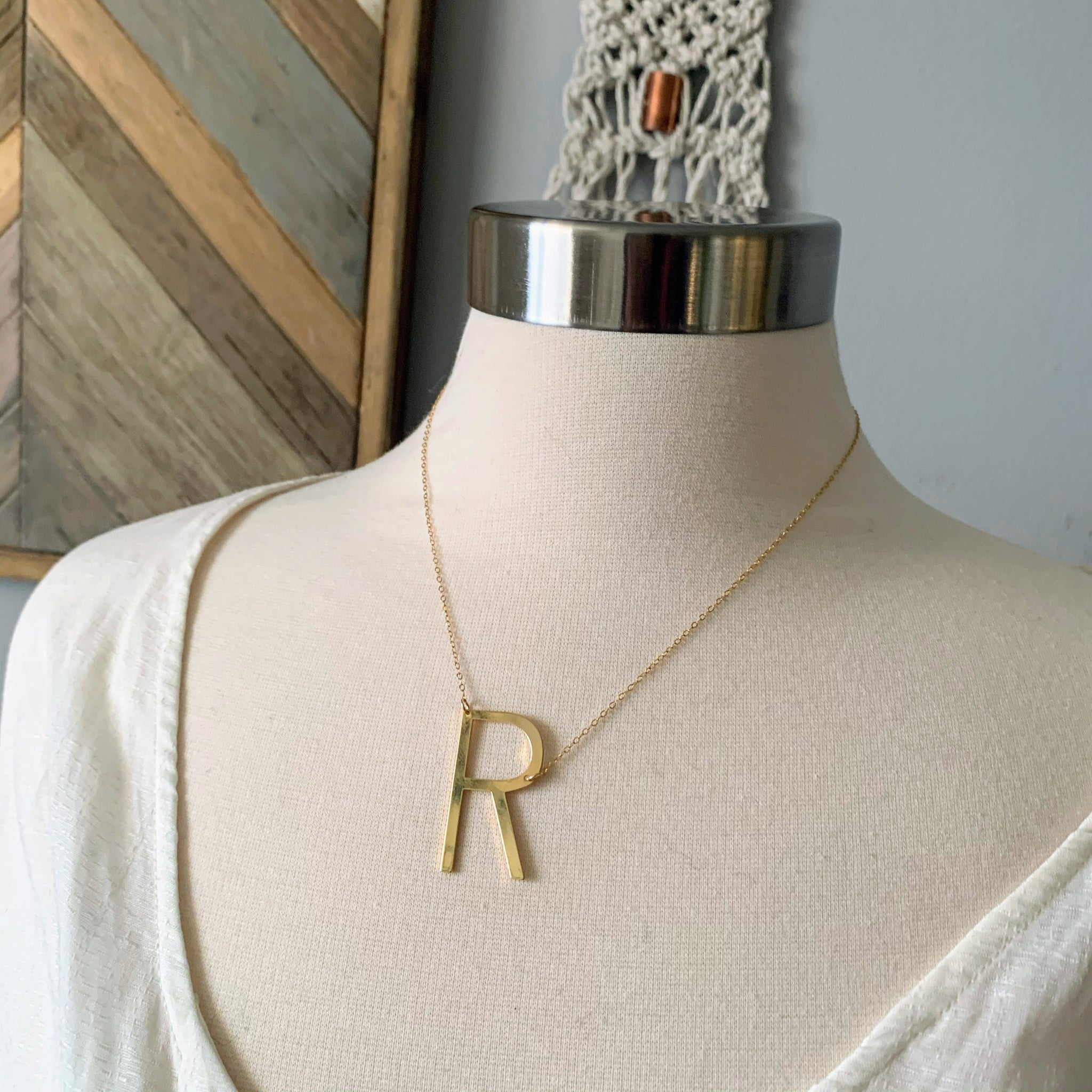 Sideways Initial Letter Necklace