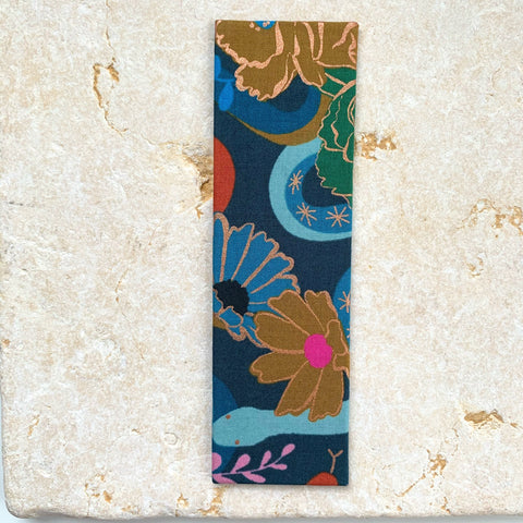 dream peacock japanese stab binding fabric bookmark