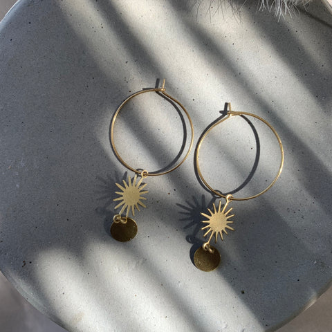 handmade in austin brass hoop earrings