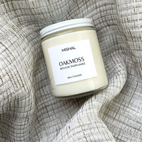 oakmoss scented handmade candle austin shop