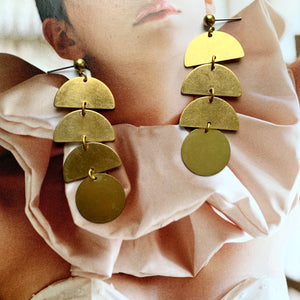Circle + Half Moon Shape Brass Pendant Earring