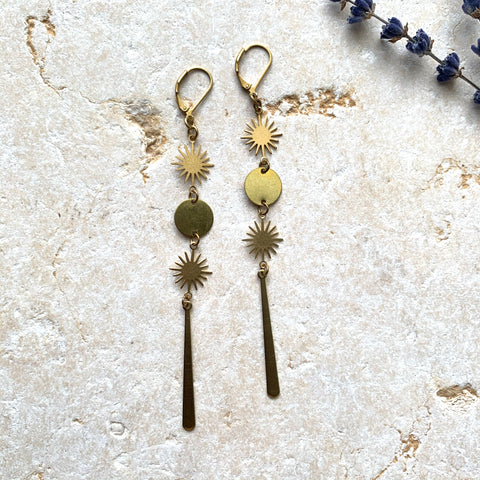 Brass Sun + Circle  Dangle Earring - New Origin Shop