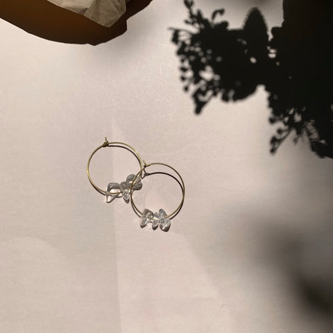 Small Brass + Quartz Stone Hoop Earring - New Origin Shop