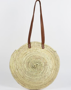 Leather Handle Round Straw Bag