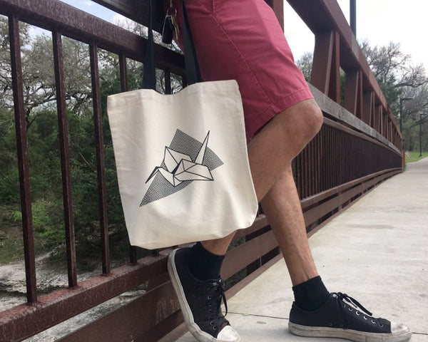 Screen-Printed Origami Crane Tote (Black Handle) - New Origin Shop LLC