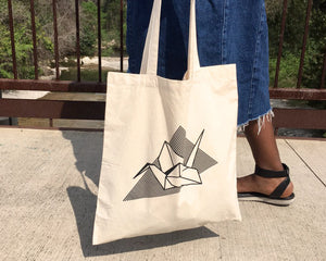 Screen-Printed Origami Crane Tote (Natural Handle) - New Origin Shop