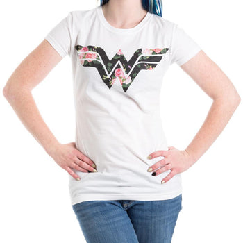 Wonder Woman Flower Logo Women's White T-Shirt Tee Shirt
