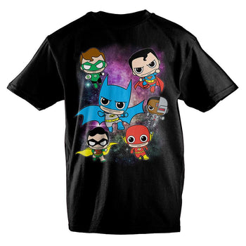 DC Comics Anime Bobblehead Justice League Boys T-Shirt