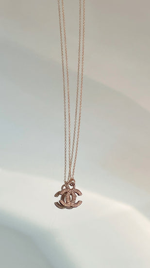 Gold CC Logo Charm Necklace