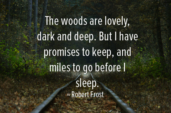 The woods are lovely, dark and deep. But I have promises to keep, and many miles to go before I sleep. Robert Frost