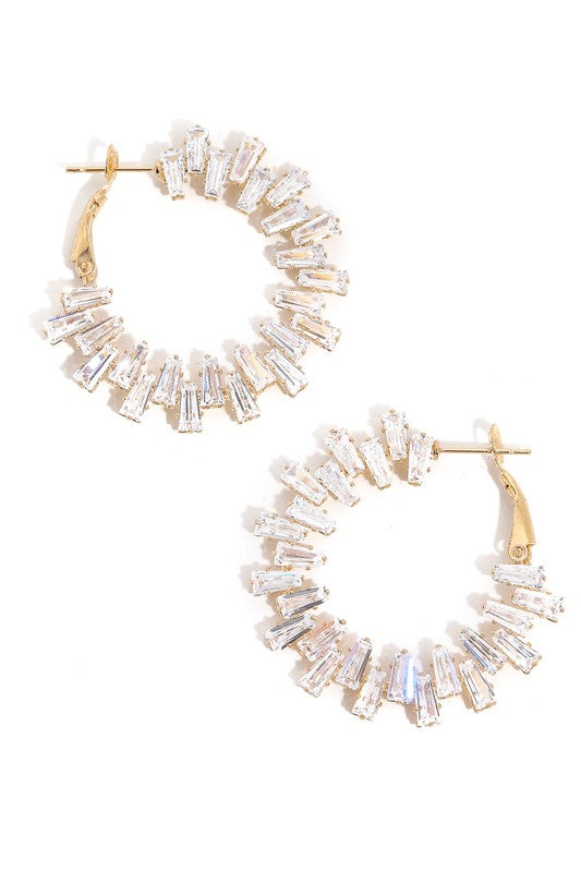 Studded Baguette Hoop Earrings